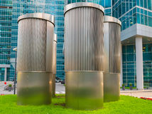 Ventilation hoods. Business center Moscow-City stock image
