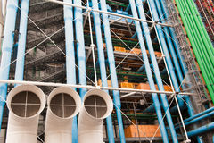 Ventilation - horizontal. The building of Pompidou center in Paris, France - Ventilation pipes royalty free stock image