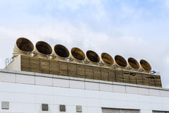 Ventilation pipes of air conditioner system. On the roof building Royalty Free Stock Photography