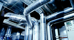 Ventilation pipes and ducts of an air condition Stock Photography
