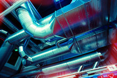 Ventilation pipes and ducts industrial air condition Stock Photo