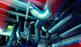 Ventilation pipes and ducts industrial air condition Royalty Free Stock Photo