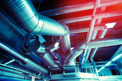 Ventilation pipes and ducts industrial air condition Royalty Free Stock Image