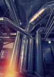 Ventilation pipes and ducts industrial air condition Royalty Free Stock Photography
