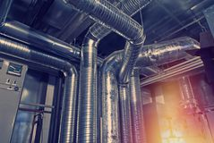 Ventilation pipes and ducts industrial air condition Stock Images