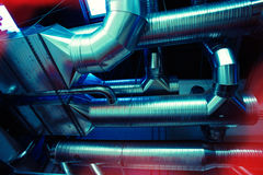 Ventilation pipes and ducts of industrial air condition Royalty Free Stock Image