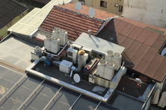 Ventilation on roofs of buildings in Istanbul. Ventilation and air condition on roofs of old buildings - top view on Istanbul city, Turkey Stock Photos