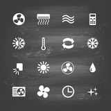 Ventilation. Set of ventilation and conditioning system flat icons Stock Photos