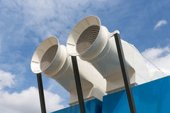Ventilation shafts of centre Pompidou in Paris Royalty Free Stock Photos