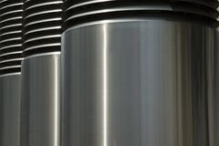 Ventilation tubes. Ventilation shafts made from stainless steel Royalty Free Stock Photography