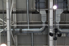 Ventilation system with lights. Of modern building Stock Photo