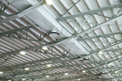 Ventilation systems in the hangar under roof Stock Photo