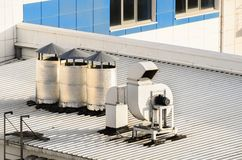 Ventilation systems on a roof Stock Photo