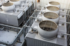 Ventilation systems on roof top Royalty Free Stock Images