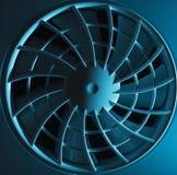 Ventilationsskyddsgaller och fan i blått ljus Arkivfoto