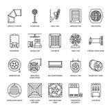 Ventilationsutrustninglinje symboler Lufta att betinga som kyler anordningar, avgasrörfanen Hushåll och industriell ventilator stock illustrationer