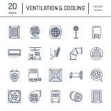 Ventilationsutrustninglinje symboler Lufta att betinga som kyler anordningar, avgasrörfanen Hushåll och industriell ventilator vektor illustrationer