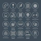 Ventilationsutrustninglinje symboler Lufta att betinga som kyler anordningar, avgasrörfanen Hushåll och industriell ventilator royaltyfri illustrationer