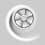 Ventilator. Electric fan with motion effect on gray background Royalty Free Stock Photos