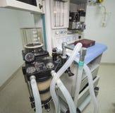Ventilator machine in hospital operating room. Closeup detail of a ventilator machine in a hospital operating room Stock Image
