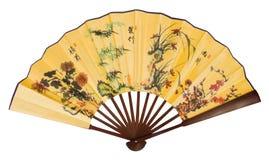 Ventilatore asiatico della mano con i draghi Fotografia Stock