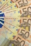 Ventilatore dell'euro cinquanta Immagini Stock