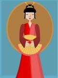 Ventilatore della holding del geisha contro priorità bassa Immagini Stock