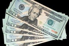 Ventilatore delle fatture degli Stati Uniti $20 Immagini Stock