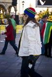 Ventilatore di calcio del SA impacchettato fino a coraggioso freddo Fotografie Stock Libere da Diritti