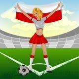Ventilatore di calcio polacco della ragazza Immagini Stock Libere da Diritti