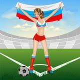 Ventilatore di calcio russo della ragazza Fotografie Stock