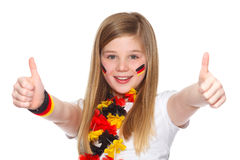 Ventilatore di calcio tedesco con i pollici in su Immagini Stock Libere da Diritti
