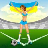 Ventilatore di calcio ucraino della ragazza Immagini Stock Libere da Diritti