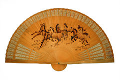 Ventilatore di legno orientale fotografie stock