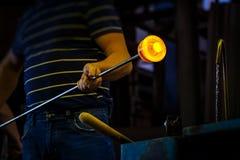 Ventilatore di vetro che forma pezzo di vetro, raffreddamento ad acqua Fotografia Stock Libera da Diritti