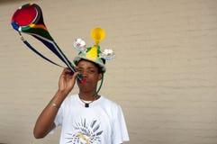 Ventilatore di Vuvuzuela, Sudafrica fotografia stock libera da diritti