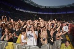 Ventilatorer på konserten Arkivfoton