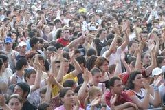 Ventilatorer på Tuborg gröna Fest Royaltyfri Foto
