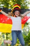 ventilatorflaggatysk henne fotbollvåg Arkivbild