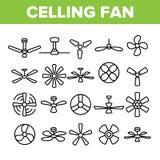 Ventilatori da soffitto, insieme lineare delle icone di vettore delle eliche illustrazione vettoriale