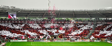 Ventilatori del randello di gioco del calcio di Torino Fotografie Stock Libere da Diritti