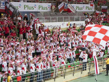 Ventilatori polacchi di pallavolo Immagine Stock