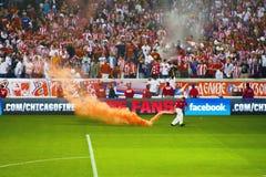 Ventilatori rossi serbi di Belgrado della stella immagini stock