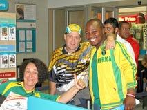 ventilatori sudafricani entusiastici della tazza di mondo di calcio Fotografia Stock Libera da Diritti