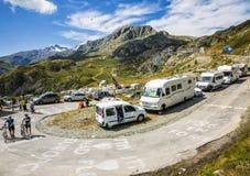 Ventilators in de Bergen - Ronde van Frankrijk 2015 Stock Afbeelding