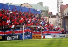 Ventilators die vlaggen golven bij voetbalspel Royalty-vrije Stock Foto