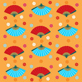 Ventilators en bloemen Japans naadloos patroon Stock Foto