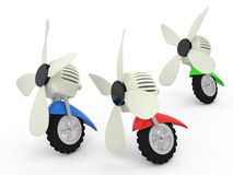 Ventilators on wheels, 3D. Ventilators on wheels, 3D Royalty Free Stock Image