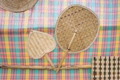 Ventilatorweefsel en Thaise stijl katoenen stof voor decoratie stock afbeelding