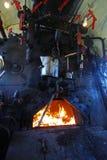 Ventile und geöffneter Ofen Stockfotos